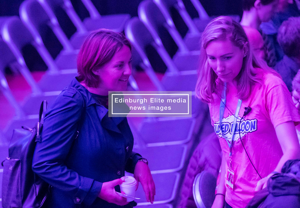 Scotland's First Minister, Nicola Sturgeon, is interviewed by Matt Forde at the Edinburgh Fringe Festival.<br /> <br /> During the hour long interview the FM said if the UK crashed out of the EU with No Deal that Jeremy Corbyn should shoulder part of the blame.<br /> <br /> Pictured: Former Scottish Labour leader, Kezia Dugdale also attended the event.