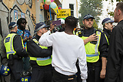 Police activate stop and search powers for Notting Hill carnival on the 27th August 2018 in London in the United Kingdom. The Notting Hill Carnival is an annual event held over two days of the August Bank Holiday weekend. It has taken place in London since 1966 on the streets of Notting Hill, in the Royal Borough of Kensington and Chelsea and the City of Westminster.