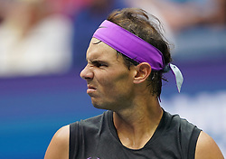 NEW YORK, Sept. 9, 2019  Rafael Nadal of Spain reacts during the men's singles final match between Rafael Nadal of Spain and Daniil Medvedev of Russia at the 2019 US Open in New York, the United States, Sept. 8, 2019. (Credit Image: © Liu Jie/Xinhua via ZUMA Wire)