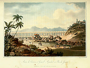 View of the Grand Aqueduct in Rio de Janeiro, Brasil From the book A voyage to Cochinchina, in the years 1792 and 1793. To which is annexed an account of a journey made in the years 1801 and 1802, to the residence of the chief of the Booshuana nation by Sir John Barrow, 1764-1848 Published in London in 1806 by T. Cadell and W. Davies