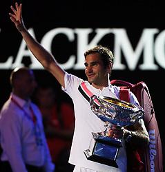 MELBOURNE, Jan. 28, 2018  Switzerland's Roger Federer waves after the awarding ceremony of the men's singles final match against Croatia's Marin Cilic at Australian Open 2018 in Melbourne, Australia, Jan. 28, 2018. (Credit Image: © Li Peng/Xinhua via ZUMA Wire)