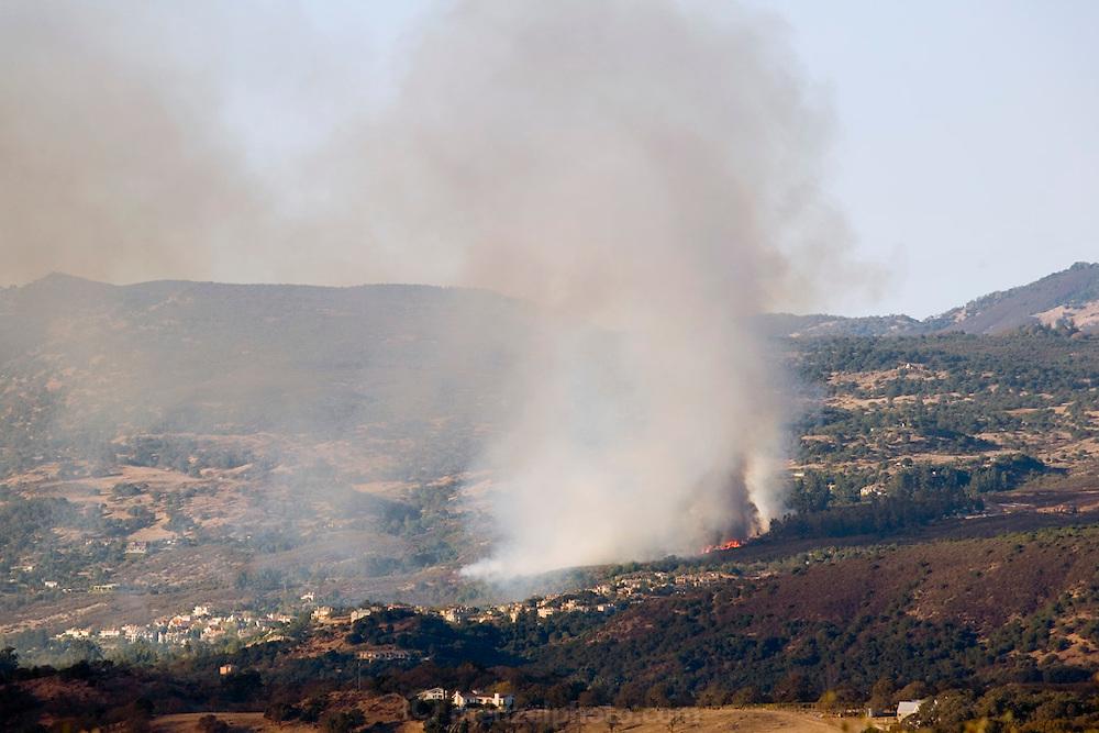Brush fire near Silverado Country Club, Napa Valley, California, USA.
