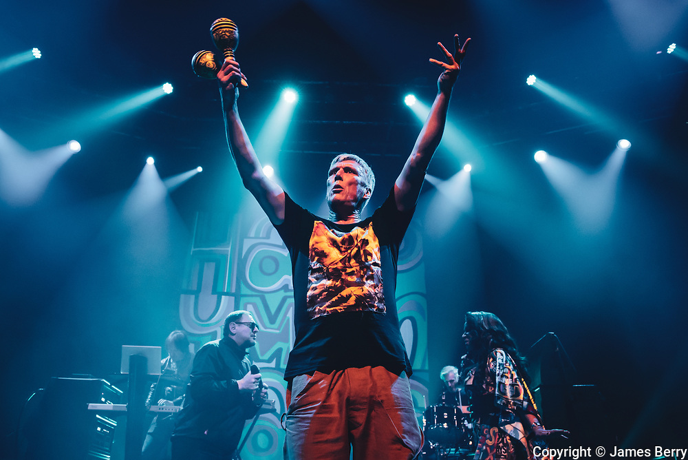 The Happy Mondays perform live at the Roundhouse on Thursday 16 November 2017. Picture shows infamous dancer Bez (real name Mark Berry)