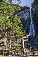 Kumano Nachi Taisha Shrine & Nachi Waterfall are part of the UNESCO World Heritage Sacred Sites and Pilgrimage Routes in the Kii Mountain Range of Japan. The Kumano Kodo route connects it to Hongu Taisha Shrine, Hayatama Taisha Shrine, and Koya-san Wakayama Prefecture.  Even today Japanese henro pilgrims trek these routes, visiting these historically important shrines and temples.  Serious henro travel to all three sites to complete their pilgrimage. Kumano Nachi Taisha is surrounded by cedar forests, a sacred camphor tree and is located next to Tach Waterfall and Seigantoji Temple Pagoda.