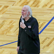 ORLANDO, FL - APRIL 12: San Antonio Spurs head coach Gregg Popovich is seen on the sideline against the Orlando Magic at Amway Center on April 12, 2021 in Orlando, Florida. NOTE TO USER: User expressly acknowledges and agrees that, by downloading and or using this photograph, User is consenting to the terms and conditions of the Getty Images License Agreement. (Photo by Alex Menendez/Getty Images)*** Local Caption *** Gregg Popovich