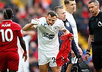 Football - 2018 / 2019 Premier League - Liverpool vs. Burnley<br /> <br /> Phillip Bardsley of Burnley injury at Anfield.<br /> <br /> COLORSPORT/LYNNE CAMERON