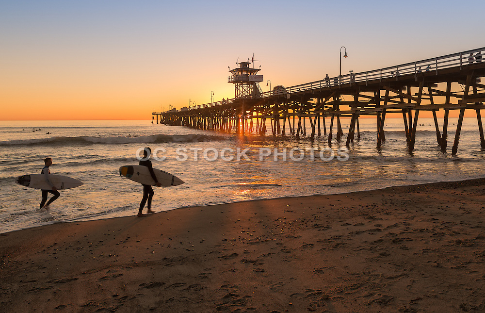 San Clemente Surfers at Sunset