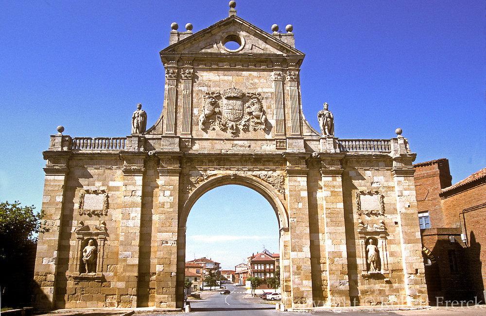 SPAIN, CASTILE and LEON SAHAGUN; doorway to ruins of the Benedictine Abbey once a retirement palace for the Kings of Leon