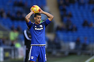 Lee Peltier of Cardiff city takes a throw in. Skybet football league championship match, Cardiff city v Rotherham Utd at the Cardiff city stadium in Cardiff, South Wales on  Saturday 23rd January 2016.<br /> pic by  Andrew Orchard, Andrew Orchard sports photography.