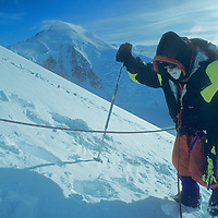 ANTARCTICA.  Norman Vaughan, 88, climbs towards summit on first ascent of Mount Vaughan, a 10,302-foot mountain near the South Pole that was named for him by Richard Byrd in honor of his participation in Byrd's 1929 expedition to fly over the Pole.