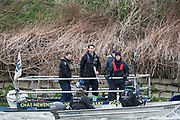 Hammersmith, GREATER LONDON. United Kingdom Cambridge University  Boat  Club, Pre Boat Race Fixture CUBC vs ITA M8+ for the 2017 Boat Race The Championship Course, Putney to Mortlake on the River Thames. Umpire launch, left to right XXXXX centre, Richard PHELEPS and Rowley DOUGLAS<br /> <br /> Saturday  18/03/2017<br /> <br /> [Mandatory Credit; Peter SPURRIER/Intersport Images]<br /> CUBC
