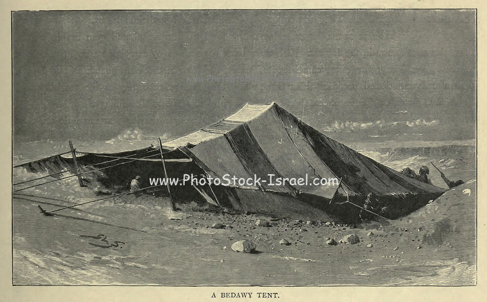 wood engraving of A Beduin Tent From the book 'Picturesque Palestine, Sinai and Egypt : social life in Egypt; a description of the country and its people' with illustrations on Steel and Wood by Wilson, Charles William, Sir, 1836-1905; Lane-Poole, Stanley, 1854-1931. Published by J.S. Virtue in London in 1884
