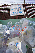 Plastic bottles in a recycling bin, Santa Monica, Los Angeles, California, USA