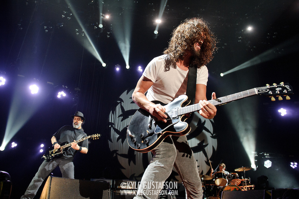 FAIRFAX, VA - July 12th, 2011 - Kim Thayil, Chris Cornell and Matt Cameron of reunited grunge heavyweights Soundgarden perform at the Patriot Center in Fairfax, VA. The band reunited last year after a 12 year break and are currently writing new material for an album to be released in 2012.  (Photo by Kyle Gustafson/For The Washington Post)
