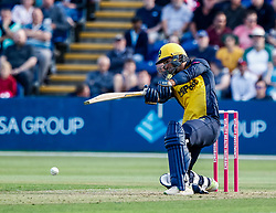Jeremy Lawlor of Glamorgan in action today <br /> <br /> Photographer Simon King/Replay Images<br /> <br /> Vitality Blast T20 - Round 1 - Glamorgan v Somerset - Thursday 18th July 2019 - Sophia Gardens - Cardiff<br /> <br /> World Copyright © Replay Images . All rights reserved. info@replayimages.co.uk - http://replayimages.co.uk