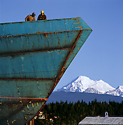 The Dakota Creek shipyard, right next to downtown, is an example of the balance Anacortes seeks between business and beauty. Mount Baker is in the background. (Benjamin Benschneider / The Seattle Times)