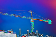 Digitally enhanced image of a construction crane