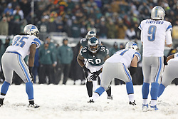 Philadelphia Eagles outside linebacker Trent Cole #58 stands in the ready position during the NFL game between the Detroit Lions and the Philadelphia Eagles on Sunday, December 8th 2013 in Philadelphia. The Eagles won 34-20. (Photo by Brian Garfinkel)