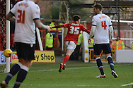 Nottingham Forest midfielder Oliver Burke celebrates second goal during the Sky Bet Championship match between Nottingham Forest and Bolton Wanderers at the City Ground, Nottingham, England on 16 January 2016. Photo by Alan Franklin.