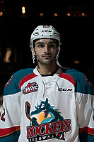 KELOWNA, CANADA - JANUARY 19:  Matt Barberis #22 of the Kelowna Rockets stands on the blue line against the Prince Albert Raiders on January 19, 2019 at Prospera Place in Kelowna, British Columbia, Canada.  (Photo by Marissa Baecker/Shoot the Breeze)
