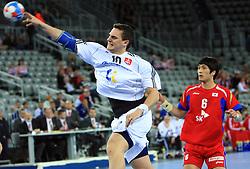 Michal Kopco (10) of Slovakia during 21st Men's World Handball Championship 2009 Main round Group I match between National teams of Slovakia and Korea, on January 24, 2009, in Arena Zagreb, Zagreb, Croatia.  (Photo by Vid Ponikvar / Sportida)
