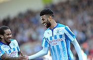 Oscar Gobern (right) of Huddersfield Town celebrates his goal against Derby County during the Sky Bet Championship match at the John Smiths Stadium, Huddersfield<br /> Picture by Graham Crowther/Focus Images Ltd +44 7763 140036<br /> 18/04/2015