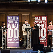 Anti-abortion March4LifeUK Pro-Life Quiz at Emmanuel Centre on 2021-09-04, London, UK.
