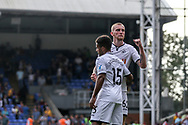 Oli Mcburnie of Swansea city ® celebrates their victory .<br /> Premier League match, Crystal Palace v Swansea city at Selhurst Park in London on Saturday 26th August 2017.<br /> pic by Kieran Clarke, Andrew Orchard sports photography.