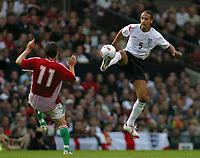 Photo: Paul Thomas.<br /> England v Hungary. International Friendly. 30/05/2006.<br /> <br /> Rio Ferrdinand wins the ball for England.