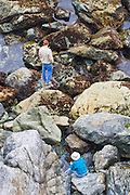 Hikers exploring Jade Cove, Los Padres National Forest, Big Sur, California
