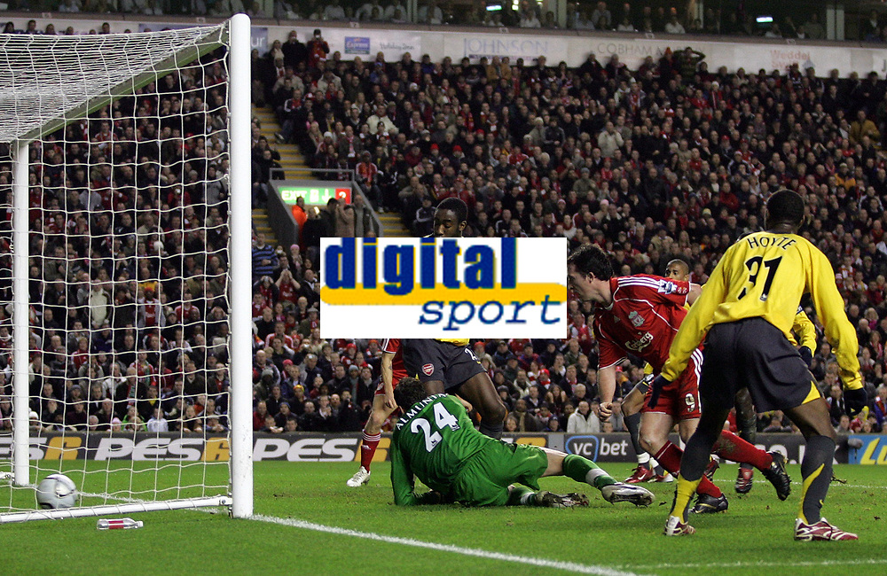 Photo: Paul Thomas.<br /> Liverpool v Arsenal. Carling Cup. 09/01/2007.<br /> <br /> Robbie Fowler (Red 9) scores for Liverpool.