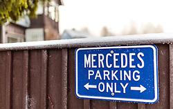 THEMENBILD - ein Hinweisschild mit der Aufschrift Mercedes Parking only, aufgenommen am 03. Dezember 2015 in Lillehammer, Norwegen // a sign that says Mercedes parking only, Lillehammer, Norway on 2015/12/03. EXPA Pictures © 2015, PhotoCredit: EXPA/ JFK