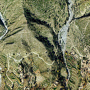 An aerial image shows the texture and patterns of land terraced for agriculture in the Hindu Kush mountains, Kunar Provence, Afghanistan. The rough terrain has been one of the biggest factors in all wars fought throughout history in Afghanistan - the latest has been no different. ltqmb