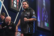 Adrian Lewis wins leg and celebrates during the World Darts Championships 2018 at Alexandra Palace, London, United Kingdom on 27 December 2018.