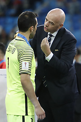 July 3, 2017 - Saint Petersburg, Russia - FIFA President Gianni Infantino (R) talks to Claudio Bravo of Chile national team during award ceremony after FIFA Confederations Cup Russia 2017 final match between Chile and Germany at Saint Petersburg Stadium on July 2, 2017 in Saint Petersburg, Russia. (Credit Image: © Mike Kireev/NurPhoto via ZUMA Press)