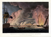 Destruction of the French Fleet at Toulon 18th December 1793. By Thomas Whitcombe (possibly 19 May 1763 – c. 1824) was a prominent British maritime painter of the Napoleonic Wars. Among his work are over 150 actions of the Royal Navy, and he exhibited at the Royal Academy, the British Institution and the Royal Society of British Artists. His pictures are highly sought after today.