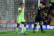 Raheem Sterling of Manchester city reacts after missing a chance to score.Barclays Premier league match, Aston Villa v Manchester city at Villa Park in Birmingham, Midlands  on Sunday 8th November 2015.<br /> pic by  Andrew Orchard, Andrew Orchard sports photography.