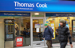 © Licensed to London News Pictures. 06/03/2013. Basingstoke, UK  A Branch of Thomas Cook in Basingstoke. The travel retailer has announced 2,500 job cuts and planned closure of 195 branches nationwide.. Photo credit : Rob Arnold/LNP