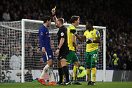 Alvaro Morata of Chelsea (L) recieves a second yellow card from the referee after dissent. The Emirates FA Cup, 3rd round replay match, Chelsea v Norwich City at Stamford Bridge in London on Wednesday 17th January 2018.<br /> pic by Steffan Bowen, Andrew Orchard sports photography.