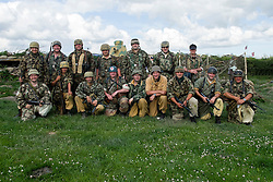 World War Two re-enactors protraying members of the 1 fallschirmjäger Division 3 fallschirmjäger Regiment also known as the green devils in tropical uniform on the Gothic line Italy during the Yorkshire War Experience at Hunsworth near Bardford West Yorkshire.  <br /> 04 July 2015<br />  Image © Paul David Drabble <br />  www.pauldaviddrabble.co.uk