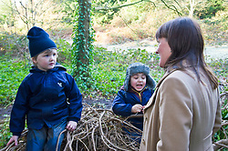Pictured: Harry Pritchard (4) and Samuel Anderson (4) were keen to tell Maree Todd some secrets<br /> Minister for Early Years and Childcare, Maree Todd today met a kindergarten class taking part outdoor learning at Luariston Castle Edinburgh.<br /> <br /> <br /> Ger Harley | EEm 22 February 2018