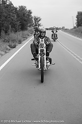 Bill Buckingham riding his 1936 Knucklehead chopper on Stage 6 of the Motorcycle Cannonball Cross-Country Endurance Run, which on this day ran from Cape Girardeau to Sedalia, MO., USA. Wednesday, September 10, 2014.  Photography ©2014 Michael Lichter.