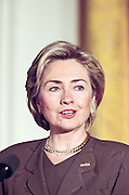 First lady Hillary Rodham Clinton during a White House event on mentoring February 3, 1999 in Washington, DC. Mrs. Clinton announced new grants to assist communities with mentoring programs to help children.