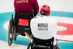 March 17, 2018 - Pyeongchang, SOUTH KOREA - 180317 The backs of Wang Haitao of China and Rune Lorentsen of Norway during the wheelchair curling final match between China and Norway during day eight of the 2018 Winter Paralympics on March 17, 2018 in Pyeongchang..Photo: Vegard Wivestad GrÂ¿tt / BILDBYRN / kod VG / 170135 (Credit Image: © Vegard Wivestad Gr¯Tt/Bildbyran via ZUMA Press)