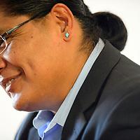 090214  Adron Gardner<br /> <br /> Navajo Nation Presidential candidate Chris Deshchene greets visitors at the Navajoland Inn & Suites in St. Michaels Tuesday.