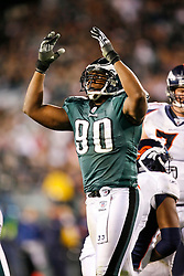 Philadelphia Eagles defensive end Darren Howard #90 reacts after a play during the NFL game between the Denver Broncos and the Philadelphia Eagles on December 27th 2009.  At Lincoln Financial Field in Philadelphia, Pennsylvania. (Photo By Brian Garfinkel)