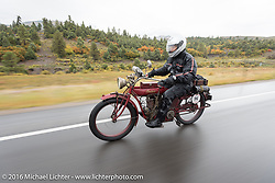 Doug Jones riding his 1914 Indian Model 260 Standard down the west side of Wolf Creek Pass during the Motorcycle Cannonball Race of the Century. Stage-10 ride from Pueblo, CO to Durango, CO. USA. Tuesday September 20, 2016. Photography ©2016 Michael Lichter.