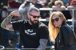 Big Joe Lingley and Stina Mialki at the annual cole slaw wrestling day at the Cabbage Patch in New Smyrna Beach during Daytona Bike Week. New Smyrna Beach, FL. USA. Wednesday March 15, 2017. Photography ©2017 Michael Lichter.