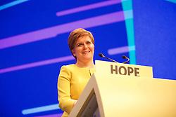 Nicola Sturgeon opening her speech to the SNP spring conference. pic copyright Terry Murden @edinburghelitemedia