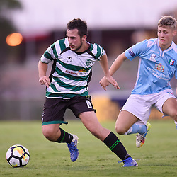BRISBANE, AUSTRALIA - JANUARY 9: Greg Gourley of Souths and Alex Krsic of City compete for the ball during the Kappa Silver Boot Group B match between Brisbane City and Souths United on January 9, 2018 in Brisbane, Australia. (Photo by Patrick Kearney)